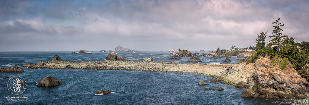 Panoramic view of finger of land comprising Preston Island in Crescent City, Northern California.