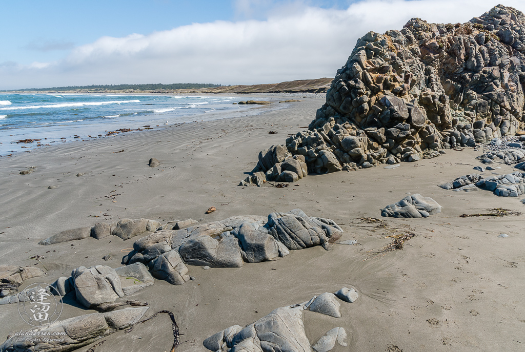 A basalt rock formation on Kellog Beach, part of the Point St George Heritage Area just North of Crescent City in Northern California.