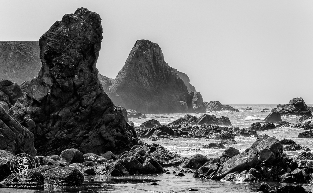 Basalt rock formation on Kellog Beach just North of Crescent City in Northern California.