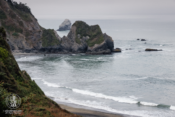 Endert Beach seen from Endert Beach Road on the Northern portion of the Last Chance Coastal Trail at Del Norte Coast Redwoods State Park.