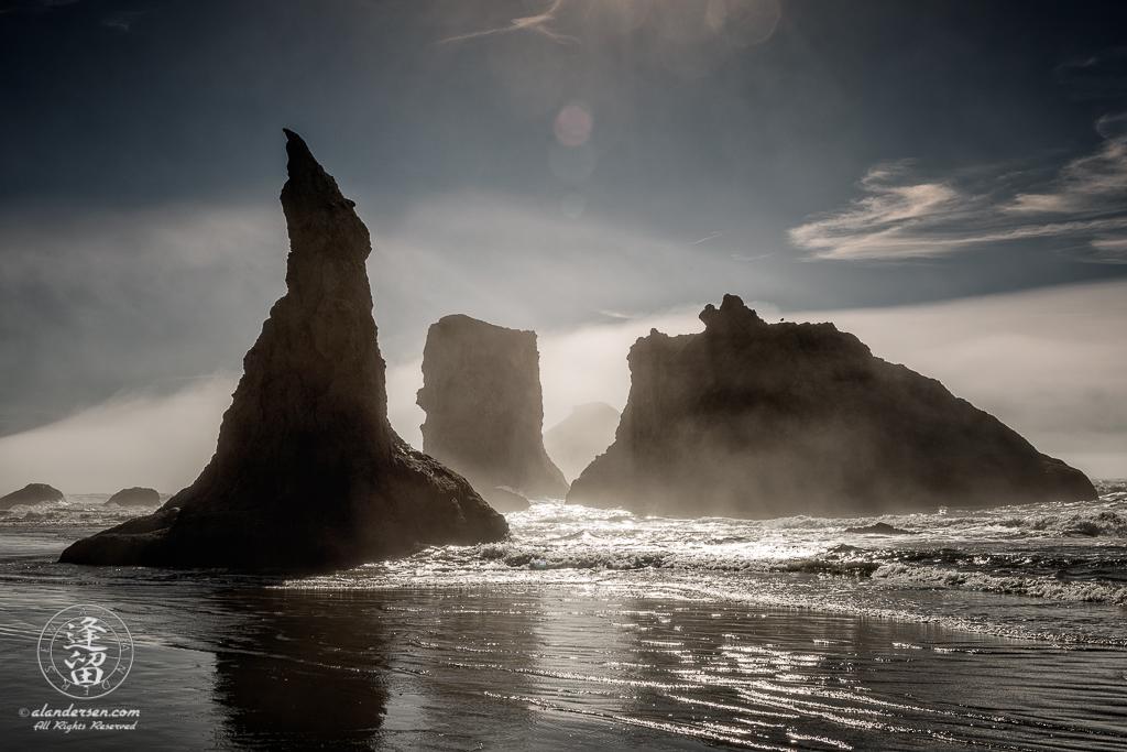 Misty late afternoon on Bandon Beach near Wizard's Hat on the Oregon Coast.
