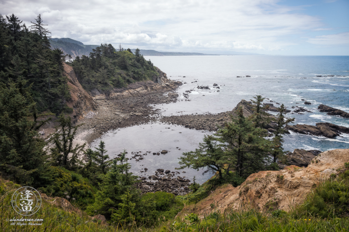 Scenic Southern coastal view from lookout viewpoint at Cape Arago State Park in Oregon.