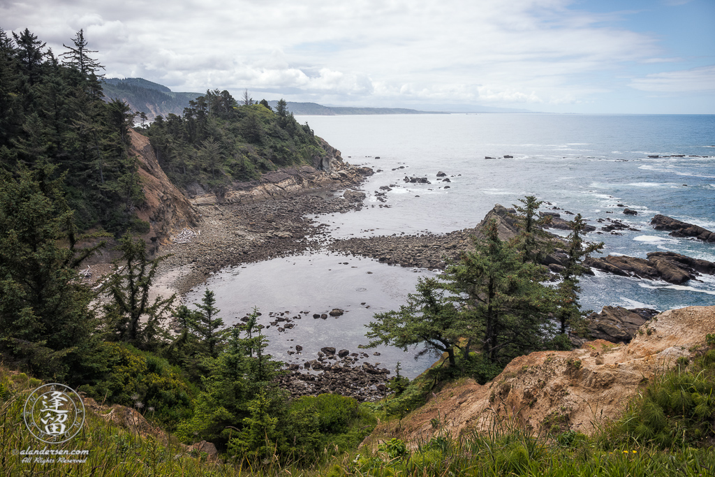 A scenic view looking south from the lookout viewpoint at Cape Arago State Park in Oregon.