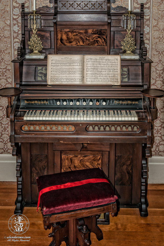 Organ in the parlor of the Hughes House, a historic Victorian pioneer home near Port Orford in Curry County, Oregon.