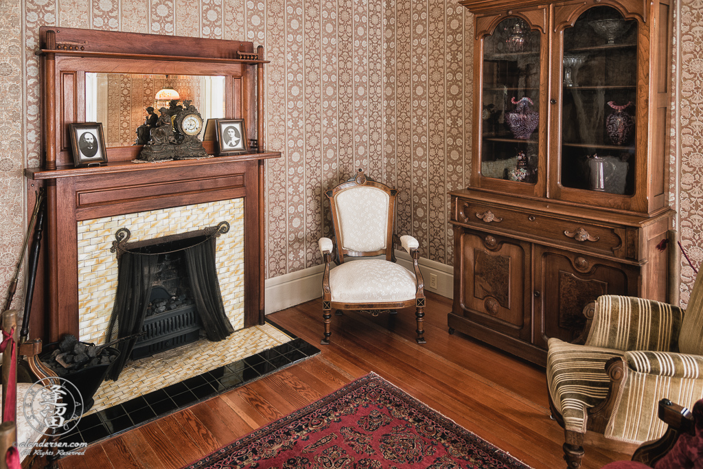 Parlor of the Hughes House, a historic Victorian pioneer home near Port Orford in Curry County, Oregon.