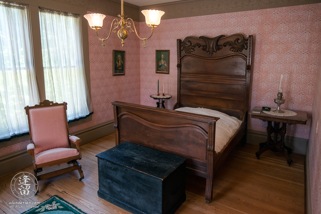 Thomas Hughes Bedroom inside the Hughes House near Port Orford, Oregon.