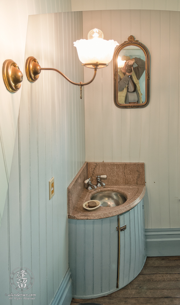 Sink in the Master Bathroom of the Hughes House near Port Orford, Oregon.