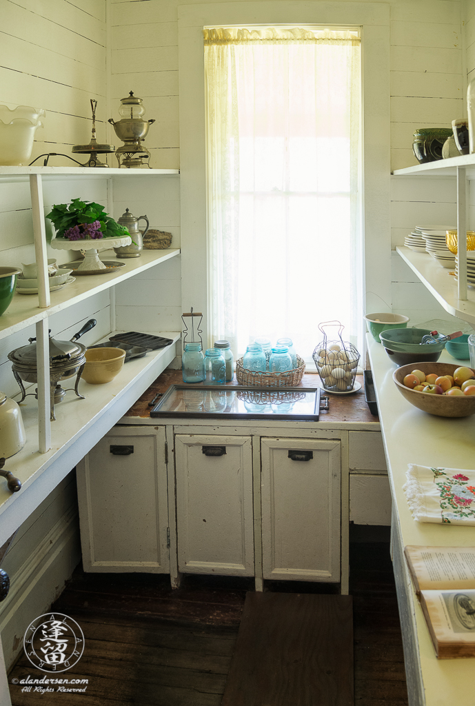 Pass-through Pantry of the Hughes House, a historic Victorian pioneer home near Port Orford in Curry County, Oregon.