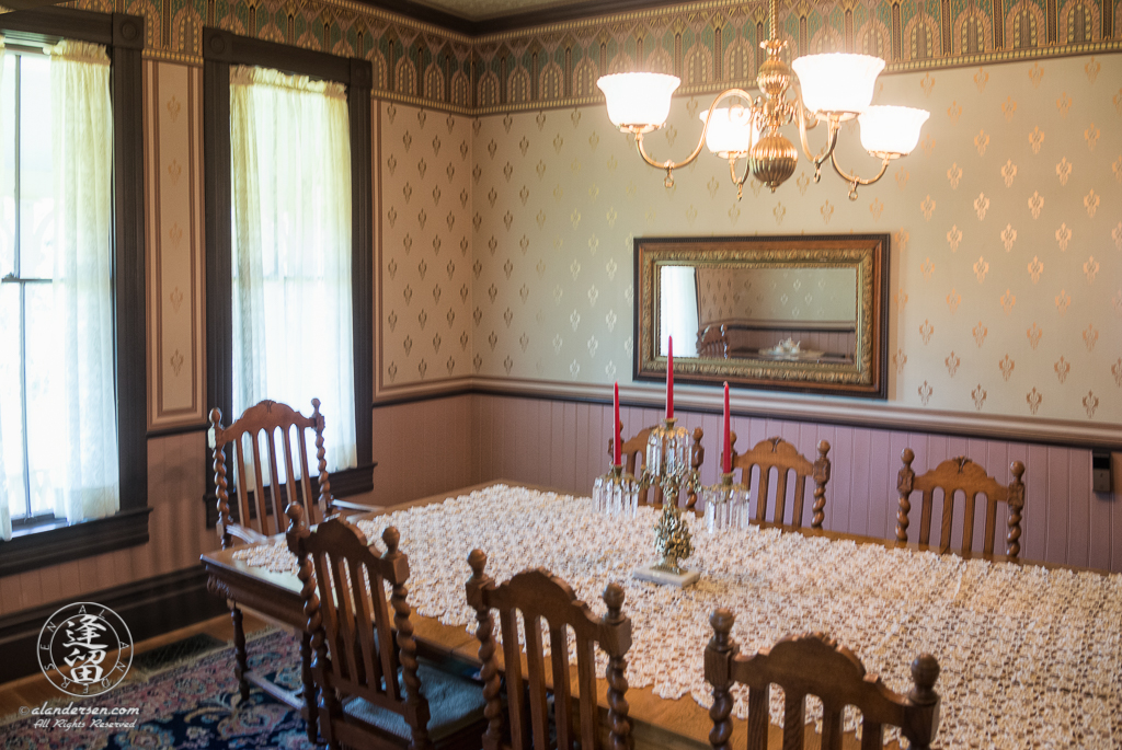 Dining Room of the Hughes House, near Port Orford, Oregon, as seen from the kitchen entry way.