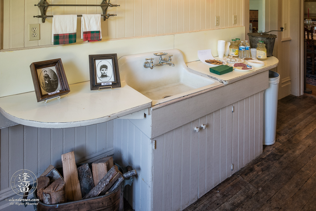 Kitchen Sink of the Hughes House, a historic Victorian pioneer home near Port Orford in Curry County, Oregon.