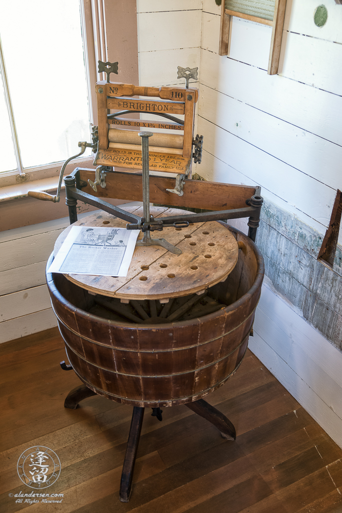 Rocker Washing Machine and Dryer in the Laundry Room of the Hughes House, a historic Victorian pioneer home near Port Orford in Curry County, Oregon.
