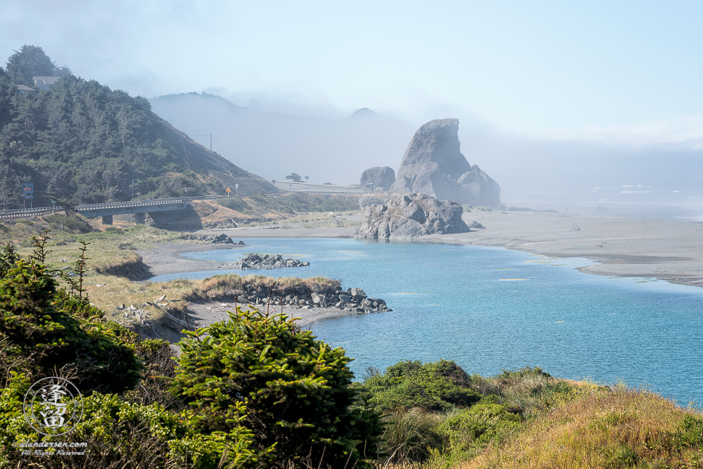 Sunny, yet misty morning at Kissing Rock, just South of Gold Beach in Southwestern Oregon.