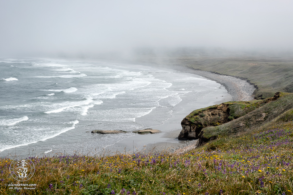 Morning fog beginning to lift at Kellog Beach, by Point St. George outside of the Northern California town of Crescent City.