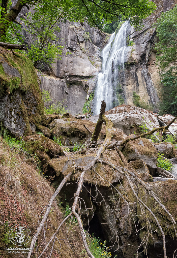 View from bottom of Golden Falls, at Golden and Silver Falls State Natural Area near Allegany in Oregon.