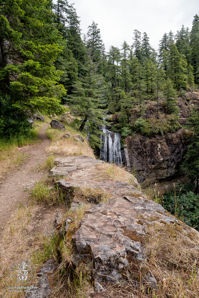 Last leg of trail to top of Golden Falls at Golden and Silver Falls State Natural Area near Allegany in Oregon.