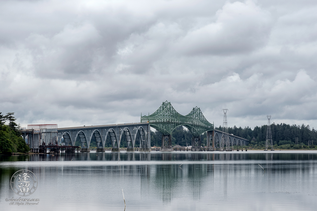 The McCullough Memorial Bridge on US101 just north of North Bend, Oregon as seen from Trans Pacific Lane turnoff.