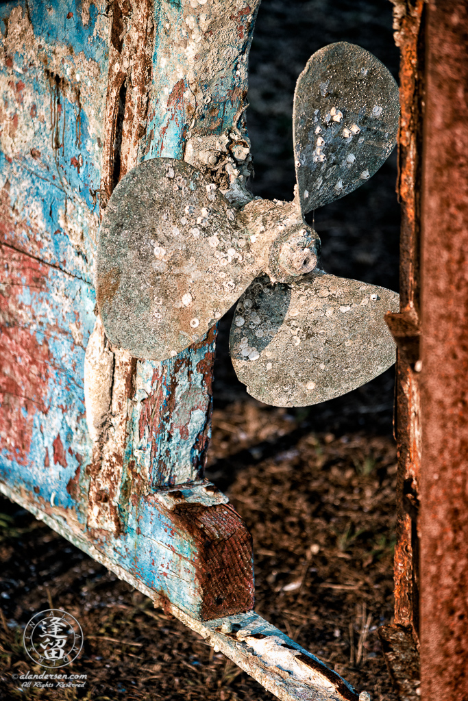 An old rusted and rotted boat (the Pisces) in dry dock on Starfish Way, by the Marina at Crescent City in Northern California.