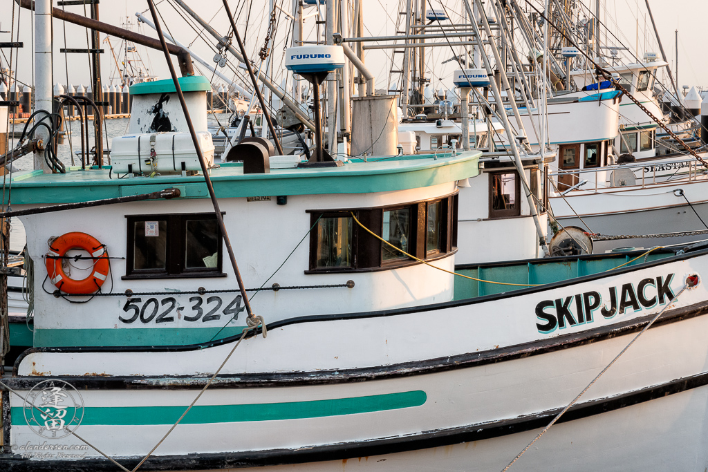 The Skip Jack and other boats moored in the Crescent City Marina in Northern California.