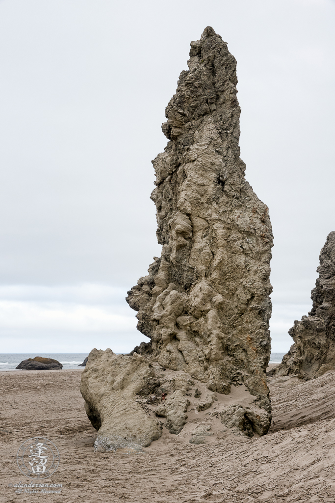 A sea stack near the cliffs by Gravel Point in Bandon, Oregon.