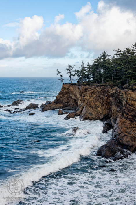 View of the cliffs along trail between Shore Acres State Park and the Simpson Reef Overlook, in Oregon.