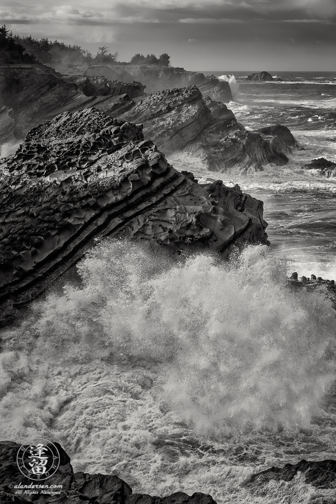 Pacific swells pound the rugged coast at Shore Acres State Park outside of Charleston in Oregon