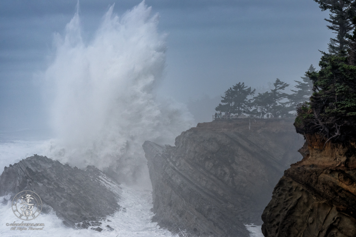 Massive waves pound the cliffs at Shore Acres State Park outside of Charleston in Oregon.