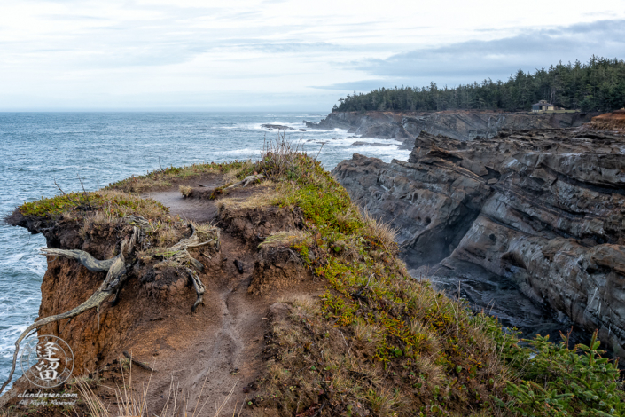 A well used vantage overlook along the coast just south of Shore Acres State Park outside of Charleston in Oregon.