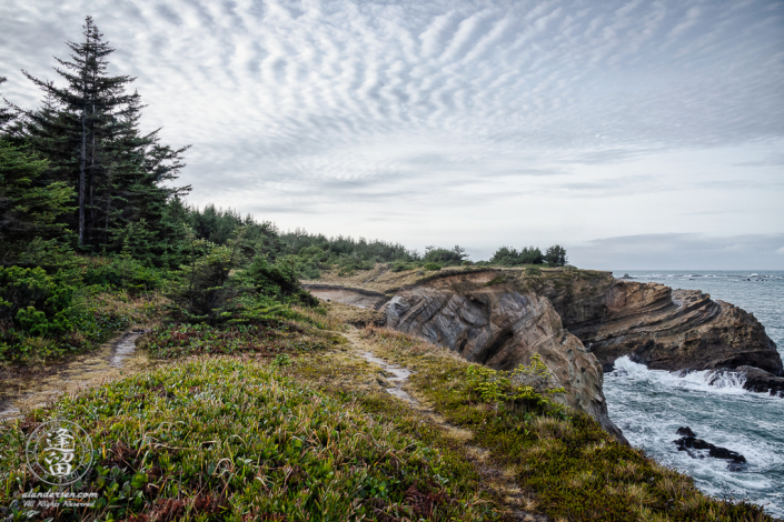 The Pacific Coast Trail, looking South toward Simpson Reef outside of Charleston in Oregon.