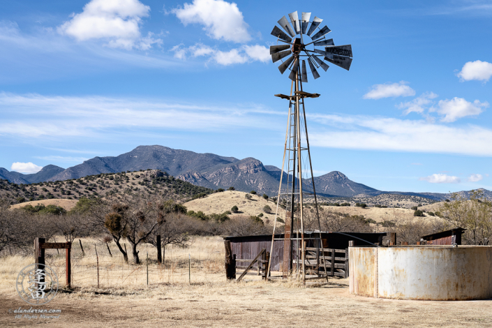 Windmill, water tank, and corrals at the Brown Canyon Ranch in Southeastern Arizona.