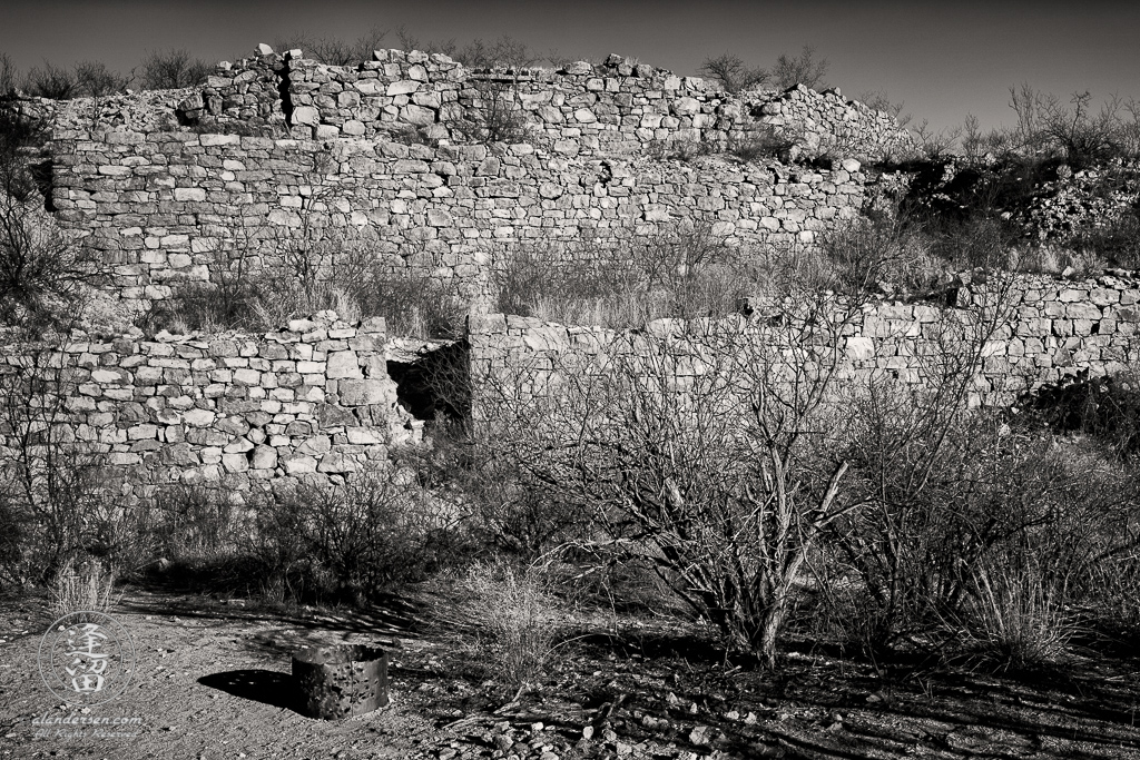 The remnants of the 15-stamp mill established in January of 1880 by Phillip and George Corbin, located at Millville within the San Pedro Riparian National Conservation Area in Arizona.