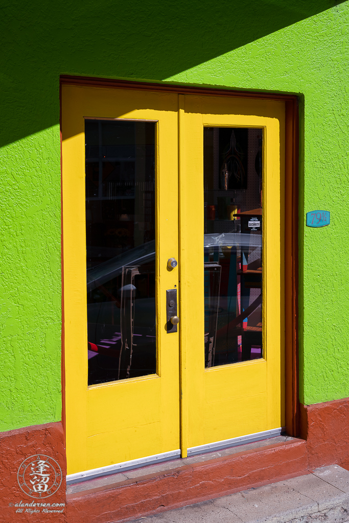 Colorful shop doorway on Tombstone Canyon Road in Bisbee, Arizona.