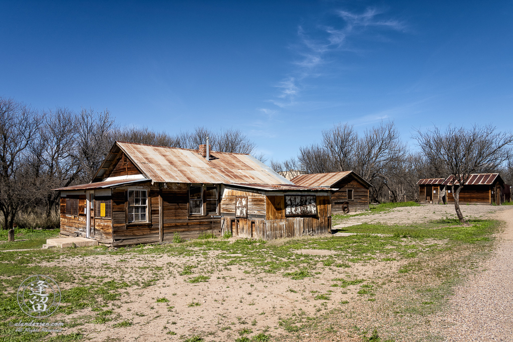 An old weathered wooden house built in the ghost town of Fairbank in Southeastern Arizona.